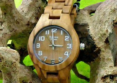 Montre en bois clair green time sens